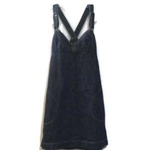 Volcom Denim Linen Overall/bib Dress Size Small